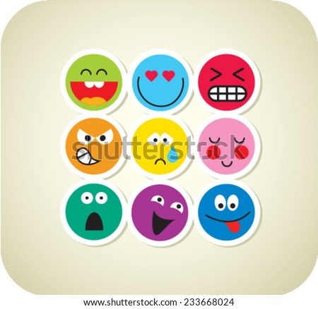Nine vector smile color face icons - stock vector