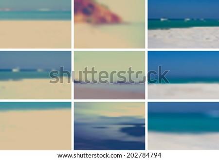 nine vintage retro vector gradient mesh blurred backgrounds.  - stock vector