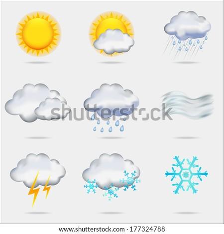Nine weather icons, EPS10 - stock vector