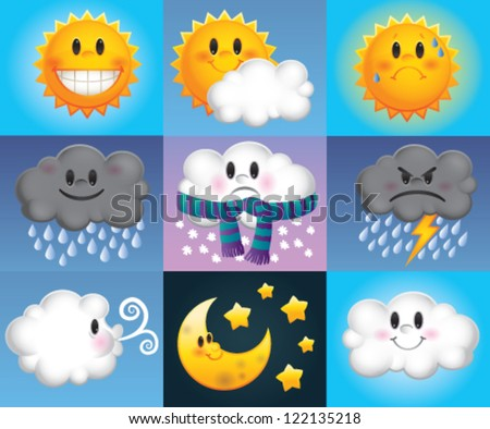 Nine weather symbols which are made up of cartoon suns, clouds and moons with cute faces - stock vector