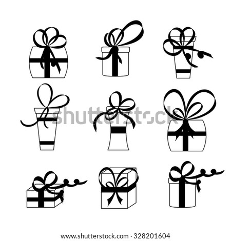 Nine white gift boxes. Black bows and ribbons. Design for greeting card, gift card, site, banner, advertising. Vector illustration. - stock vector