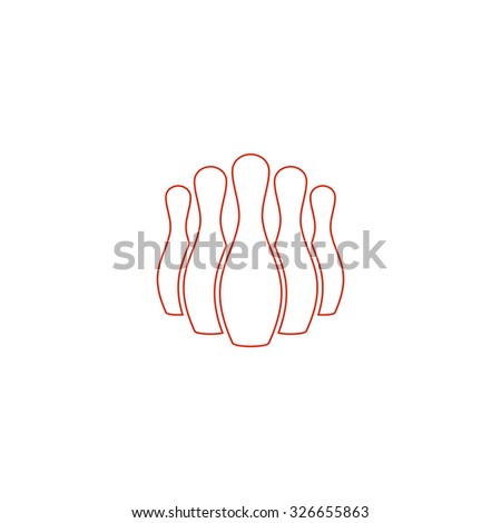 Ninepins. Red outline vector pictogram on white background. Flat simple icon