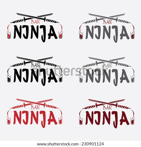 ninja bar concept vector design template - stock vector