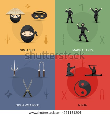 Ninja design concept set with suit weapon and martial arts flat icons isolated vector illustration - stock vector