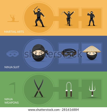 Ninja horizontal banners set with suit weapon and martial arts elements isolated vector illustration - stock vector