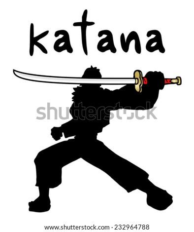 Ninja katana - stock vector