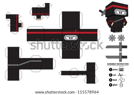 Ninja paper toy with assembly instruction. This vector is completely customizable. - stock vector