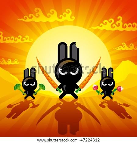Ninja Rabbits. Vector - stock vector