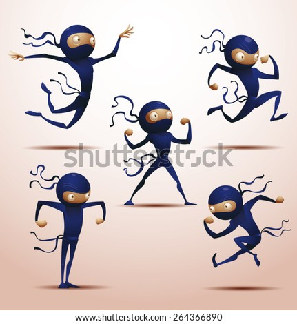 Ninja set, vector  - stock vector