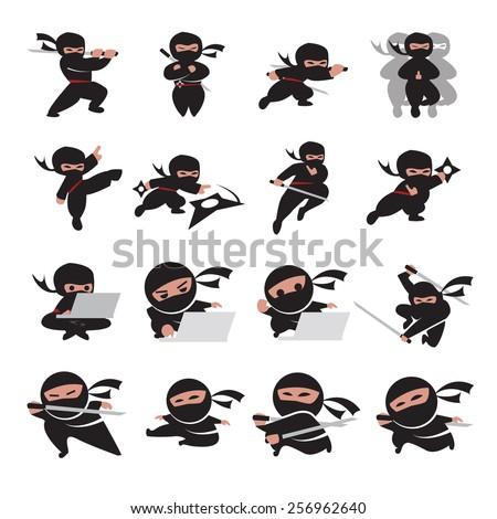 ninja time - stock vector