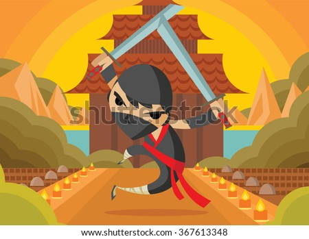 ninja warrior jumping in a temple - stock vector