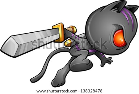 Ninja Warrior Kitten Cat Vector - stock vector