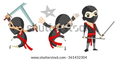 ninjas characters - stock vector