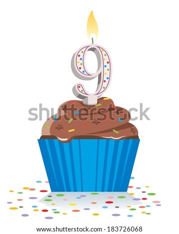 ninth birthday cupcake with lit candle in shape of number nine  - stock vector
