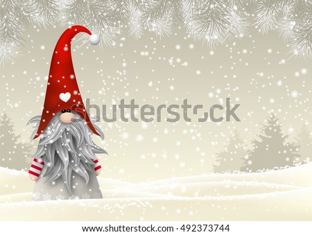 Nisser in Norway and Denmark, Tomtar in Sweden or Tonttu in Finnish, Scandinavian folklore elves, nordic christmas motive, Tomte standing in winter landscape, vector illustration, eps 10 with