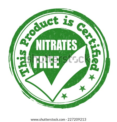 Nitrates free grunge rubber stamp on white background, vector illustration