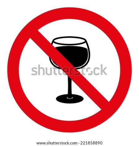 No Alcohol Ban Sign  - stock vector