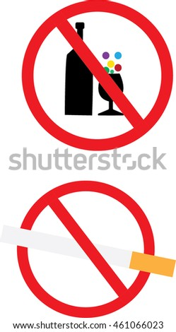 no alcohol drinksprohibits sign cigarette icon stock vector royalty