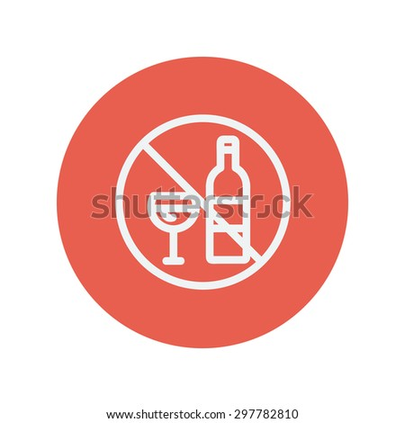 No alcohol sign thin line icon for web and mobile minimalistic flat design. Vector white icon inside the red circle. - stock vector