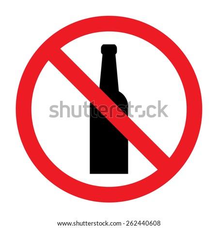 No alcohol vector sign - stock vector