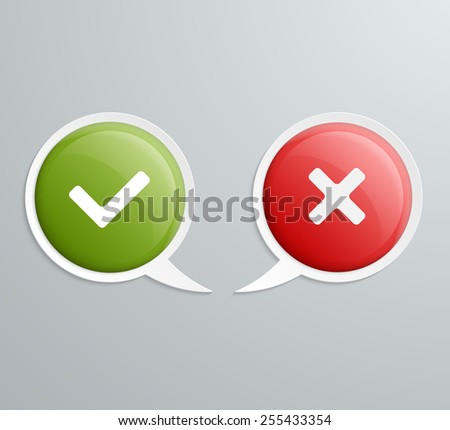 No and Yes Speech Icons. Vector illustration. - stock vector