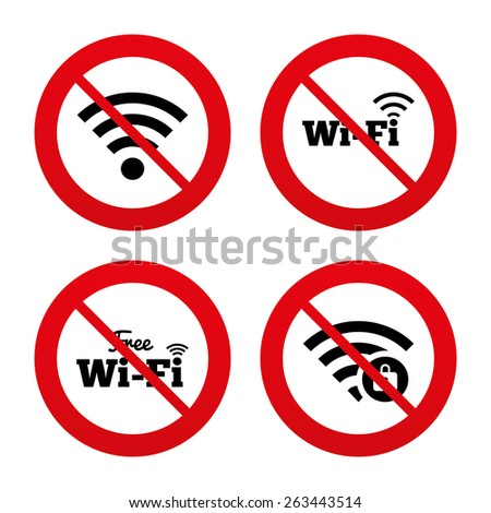 No, Ban or Stop signs. Free Wifi Wireless Network icons. Wi-fi zone locked symbols. Password protected Wi-fi sign. Prohibition forbidden red symbols. Vector  - stock vector