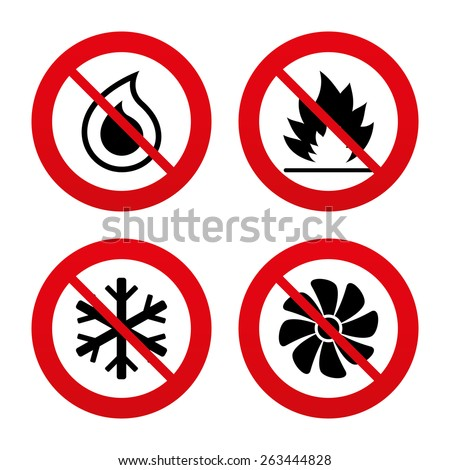 No, Ban or Stop signs. HVAC icons. Heating, ventilating and air conditioning symbols. Water supply. Climate control technology signs. Prohibition forbidden red symbols. Vector - stock vector