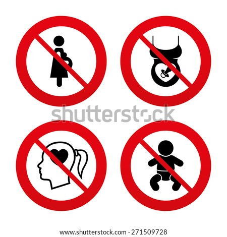 No, Ban or Stop signs. Maternity icons. Baby infant, pregnancy and dummy signs. Child pacifier symbols. Head with heart. Prohibition forbidden red symbols. Vector - stock vector