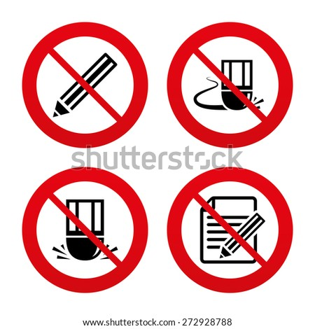 No, Ban or Stop signs. Pencil icon. Edit document file. Eraser sign. Correct drawing symbol. Prohibition forbidden red symbols. Vector - stock vector