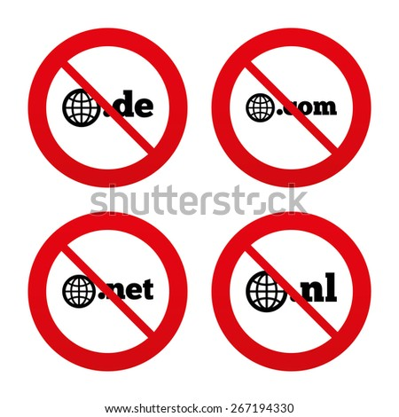 No, Ban or Stop signs. Top-level internet domain icons. De, Com, Net and Nl symbols with globe. Unique national DNS names. Prohibition forbidden red symbols. Vector - stock vector