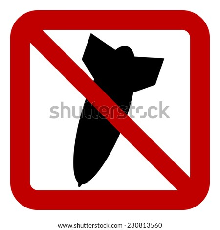 No bomb sign on white background. Vector illustration.
