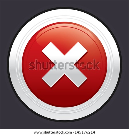 No button. Cancel icon. Vector red round sticker. Metallic icon with gradient.