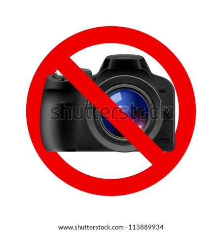 No camera allowed sign.  Illustration on white background - stock vector