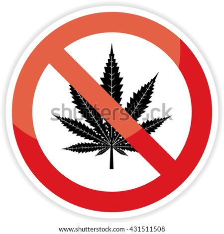 No cannabis sign on white background.vector illustration.