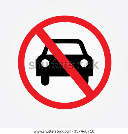 No car or no parking traffic sign,prohibit sign.vector illustration    - stock vector