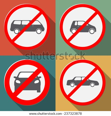 no cars allowed stylish signs - stock vector
