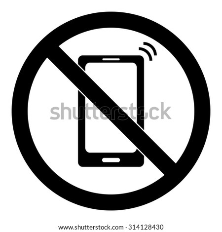 No Cell Phone Sign. Put Phones on Vibration. - stock vector