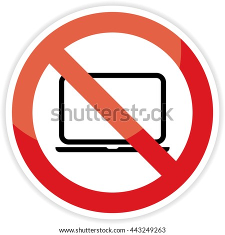 No computer area  Sign on white background.vector illustration