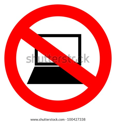 No computers vector sign - stock vector