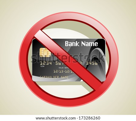 no credit card allowed sign - stock vector