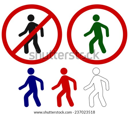No crossing! Prohibited signs walking man, silhouette of man - vector illustration - stock vector