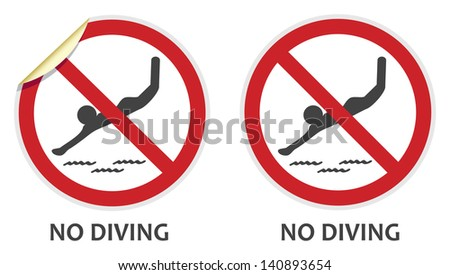 No diving signs in two vector styles depicting banned activities - stock vector