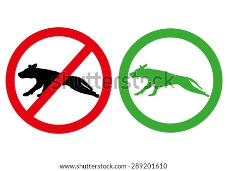 No dog forbidden and allowed sign symbol on white background. - stock vector