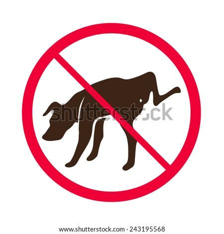 No Dog Peeing -- Vector - No dog pee sign logo - stock vector