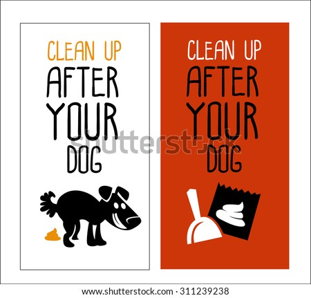 No dog pooping and clean up signs. Isolated on white background  - stock vector