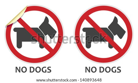 No dogs or animals signs in two vector styles depicting banned activities - stock vector