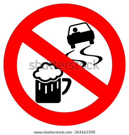 No drink and drive vector sign isolated on white background - stock vector