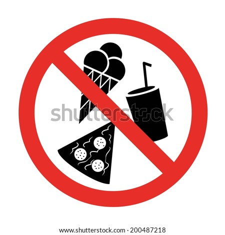 NO DRINK AND FOOD sign, NO EATING sign - stock vector