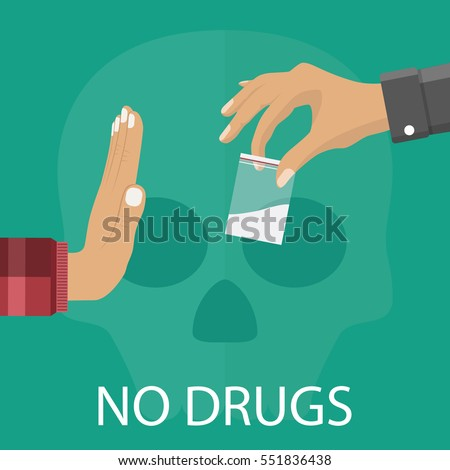 No drugs concept. Reject drugs offer. Hand saying NO. Vector illustration in flat style.