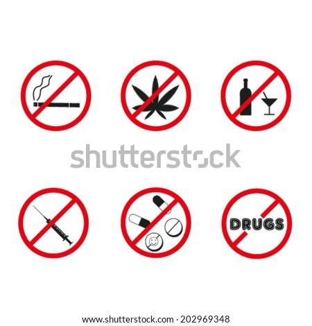 No drugs, no alcohol  prohibition signs. Vector. - stock vector
